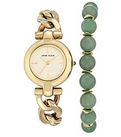 Anne Klein® Goldtone Watch and Jade Bead Bracelet Set