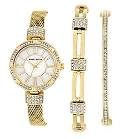 Anne Klein® Goldtone Watch and Crystal Bracelet Set