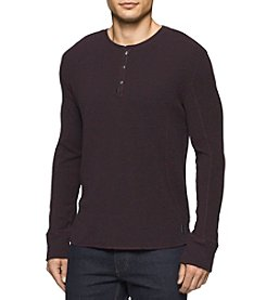 Calvin Klein Jeans® Men's Mixed Media Waffle Slub Long Sleeve Henley