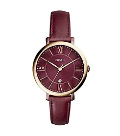 Fossil® Jacqueline Three-Hand Date Red Leather Watch