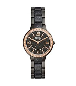Fossil® Virginia Three Hand Stainless Steel And Glitter Watch