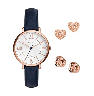 Fossil® Jacqueline Three Hand Date Leather Watch And Ear