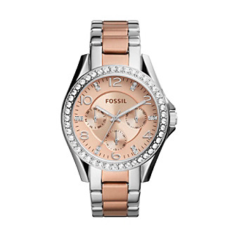 Fossil® Riley Multifunction Two Tone Stainless Steel Wat