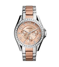 Fossil® Riley Multifunction Two Tone Stainless Steel Watch