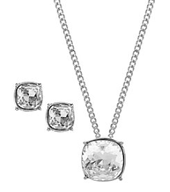 Givenchy® Silvertone Pendant and Stud Earrings Set