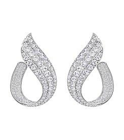 Swarovski® Silvertone Front to Back Earrings