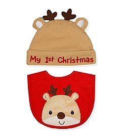 Cuddle Bear® Baby Reindeer Bib and Cap