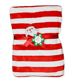 Baby Essentials® Baby Candy Striped Blanket with Plush Santa Rattle