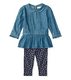 Ralph Lauren® Baby Girls' 2-Piece Peplum Top And Leggings Set