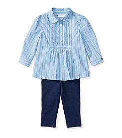 Ralph Lauren® Baby Girls' 2-Piece Striped Shirt And Leggings Set