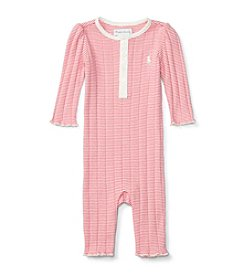 Ralph Lauren® Baby Girls' Striped Pointelle Coverall