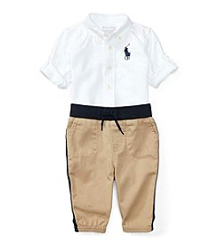 Ralph Lauren® Baby Boys 2-Piece Button Down Shirt And Joggers Set