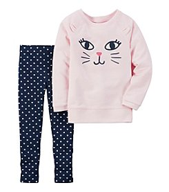 Carter's® Girls' 2T-4T 2-Piece Kitty Face Top and Leggings Set