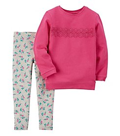 Carter's® Girls' 2T-4T 2-Piece Lace Top and Floral Leggings Set