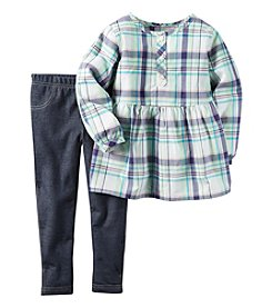 Carter's® Girls' 2T-4T 2-Piece Plaid Top and Jeggings Set