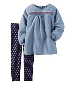 Carter's® Girls' 2T-4T 2-Piece Chambray Top and Geo Leggings Set
