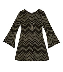 Amy Byer Girls' 7-16 Glitter Chevron Shift Dress