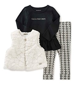Calvin Klein Jeans Girls' 4-6X 3-Piece Faux Fur Vest Set