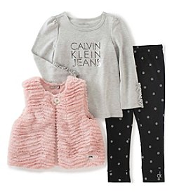 Calvin Klein Jeans Girls' 2T-6X 3-Piece Faux Fur Vest Set
