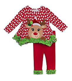 Rare Editions® Girls' 2T-4T 2-Piece Reindeer Top and Leggings Set