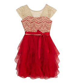 Rare Editions® Girls' 7-16 Lace Overlay Cascade Dress