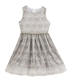 Rare Editions® Girls' 7-16 Pearl Belted Brocade Dress
