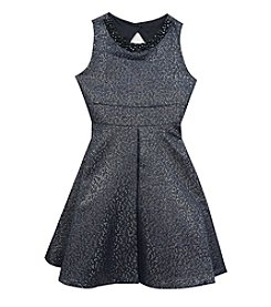 Rare Editions® Girls' 7-16 Metallic Beaded Fit And Flare Dress