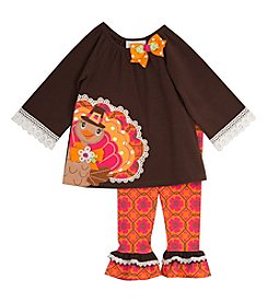 Rare Editions® Girls' 2T-6X 2-Piece Thanksgiving Top And Leggings Set
