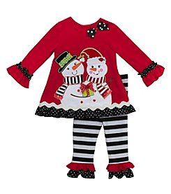 Rare Editions® Girls' 2T-6X 2-Piece Snowman Top And Leggings Set