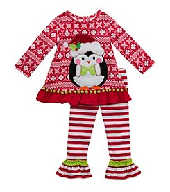 Rare Editions® Girls' 2T-6X 2-Piece Penguin Top and Leggings Set
