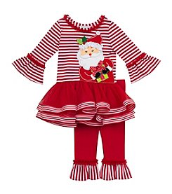 Rare Editions® Girls' 2T-6X 2-Piece Santa Tutu Top and Leggings Set