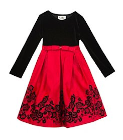 Rare Editions® Girls' 2T-6X Floral Hem Pleated Dress