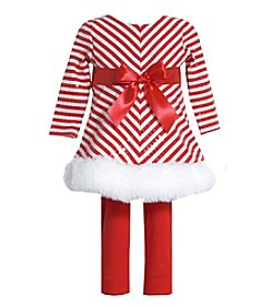 Bonnie Jean® Baby Girls' 2-Piece Sparkle Candy Striped Top and Leggings Set