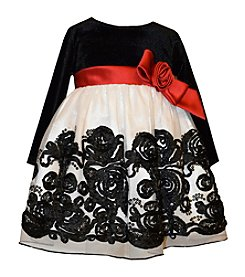 Bonnie Jean® Baby Girls' Long Sleeve Floral Applique Dress