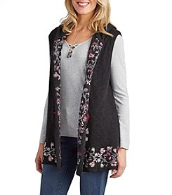 Democracy Embroidered Open Vest