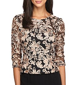 Alex Evenings® 3/4 Sleeve Mandarin Collar Blouse