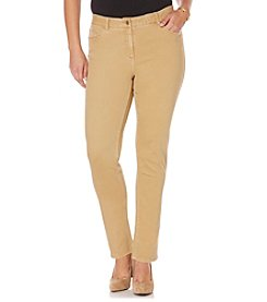 Rafaella® Plus Size Denim with Benefits™ Khaki Fashion Straight Leg Jeans