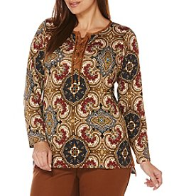 Rafaella® Plus Size Medallion Printed Top