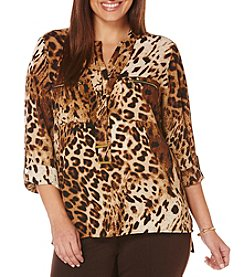 Rafaella® Plus Size Animal Print Zip Pocket Top