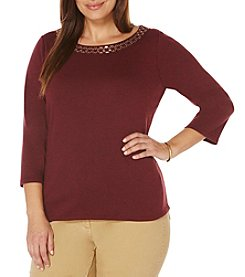 Rafaella® Plus Size Embellished Neckline Top