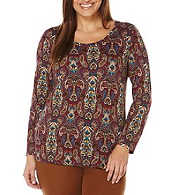Rafaella® Plus Size Flourish Paisley Print Top