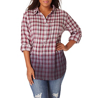 Vintage America Blues™ Plus Size Brooke Dip Dye Plaid Top plus size,  plus size fashion plus size appare