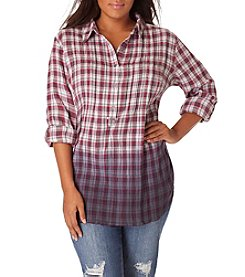Vintage America Blues™ Plus Size Brooke Dip Dye Plaid Top