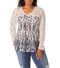 Vintage America Blues™ Plus Size Ripple Ember Lace Detial Top