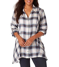 Vintage America Blues™ Plus Size Ries Plaid Roll Sleeve Top