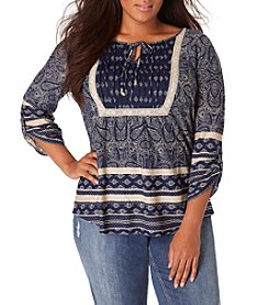 Vintage America Blues™ Plus Size Skipping Stones Paisley Print Top