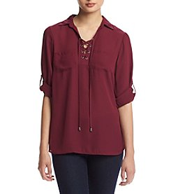 Sequin Hearts® Lace Up Front Utility Tunic