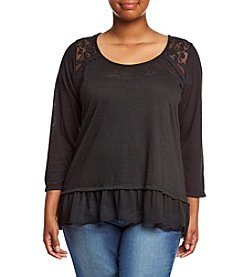 Living Doll® Plus Size Lace Shoulder Ruffle Hem Tee