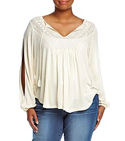 Jessica Simpson Plus Size Frida Open Sleeve Crochet Peasant Top