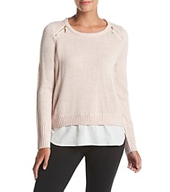 Ivanka Trump® Layered Look Zip Shoulder Sweater
